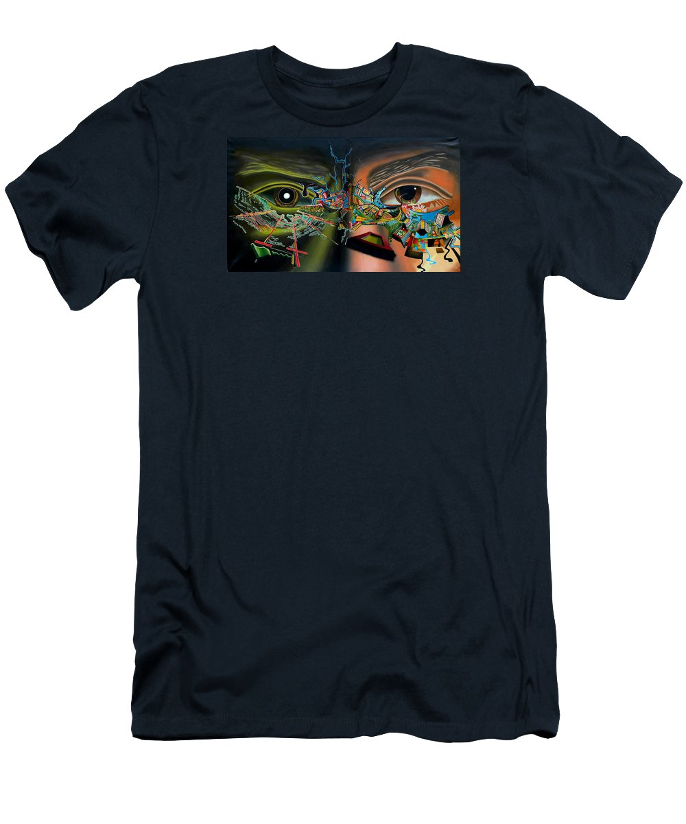 Surreal Men's T-Shirt (Athletic Fit) featuring the painting The Surreal Bridge by Dave Martsolf