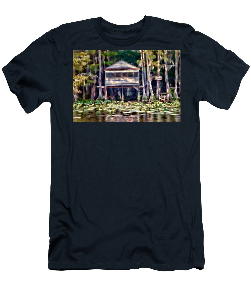 bald Cypress Men's T-Shirt (Athletic Fit) featuring the photograph The Tea Room by Lana Trussell
