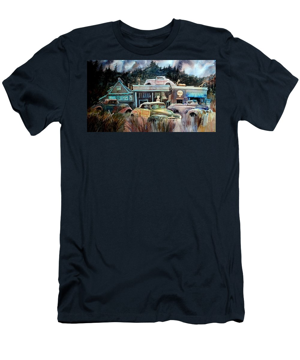 Stores Cars Trees Men's T-Shirt (Athletic Fit) featuring the painting The Trading Post by Ron Morrison