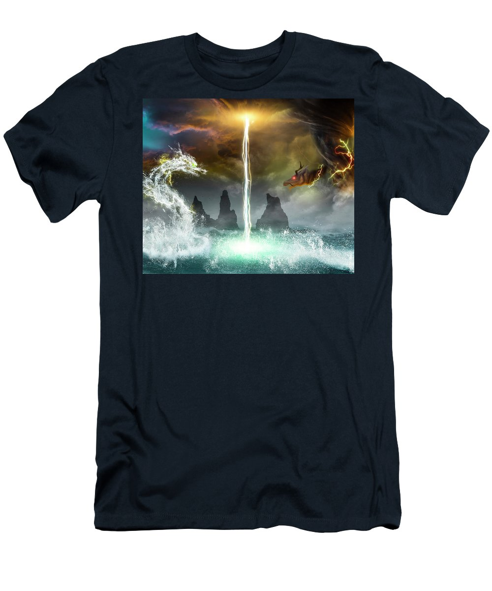 Dragon Men's T-Shirt (Athletic Fit) featuring the digital art The Universe Of Dragons by Sandevil Sandhya
