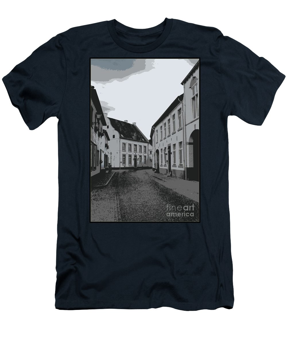 Gray And White Men's T-Shirt (Athletic Fit) featuring the photograph The White Village - Digital by Carol Groenen