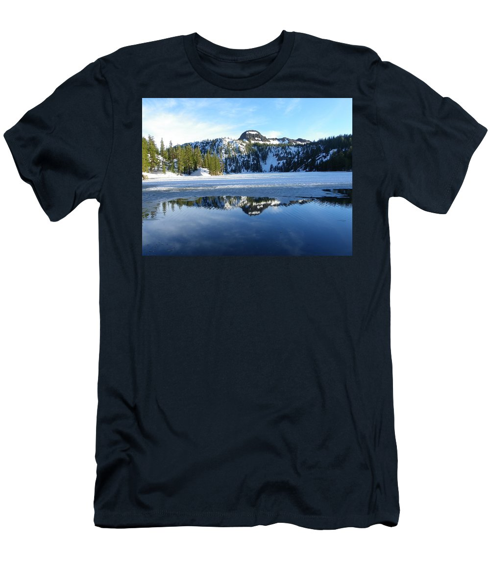 Landscape Men's T-Shirt (Athletic Fit) featuring the photograph Thin Ice by Charleen Treasures