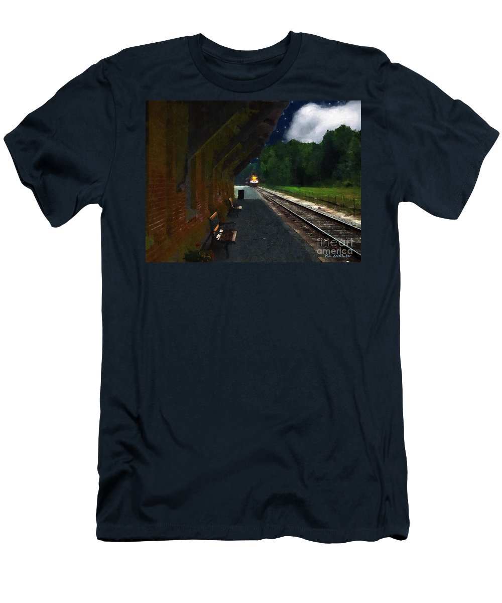 Autumn Men's T-Shirt (Athletic Fit) featuring the painting Thomaston Train At Night by RC DeWinter