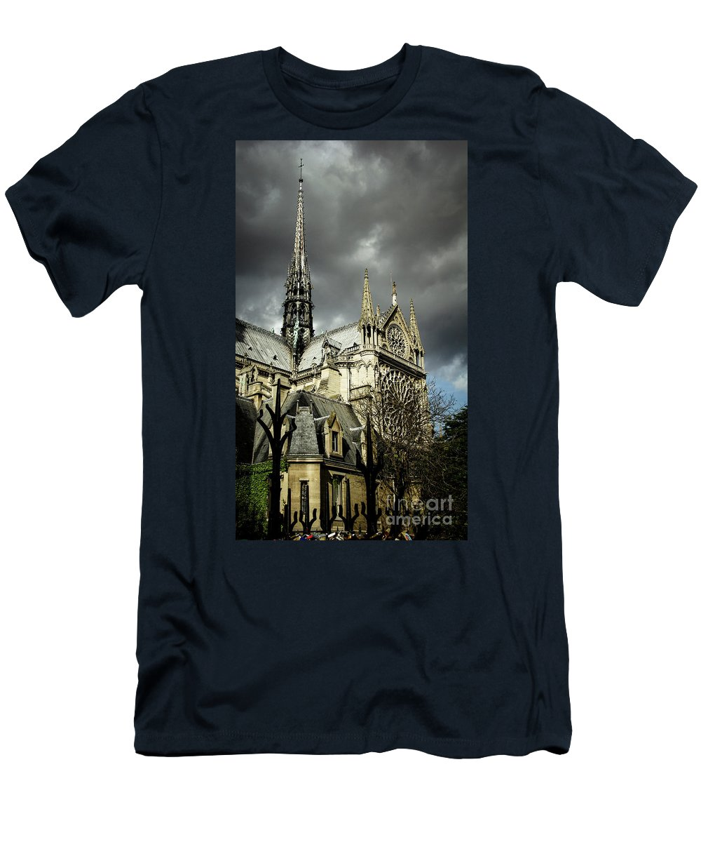 Cathedral Men's T-Shirt (Athletic Fit) featuring the photograph Thunderous Notre Dame by Marina McLain