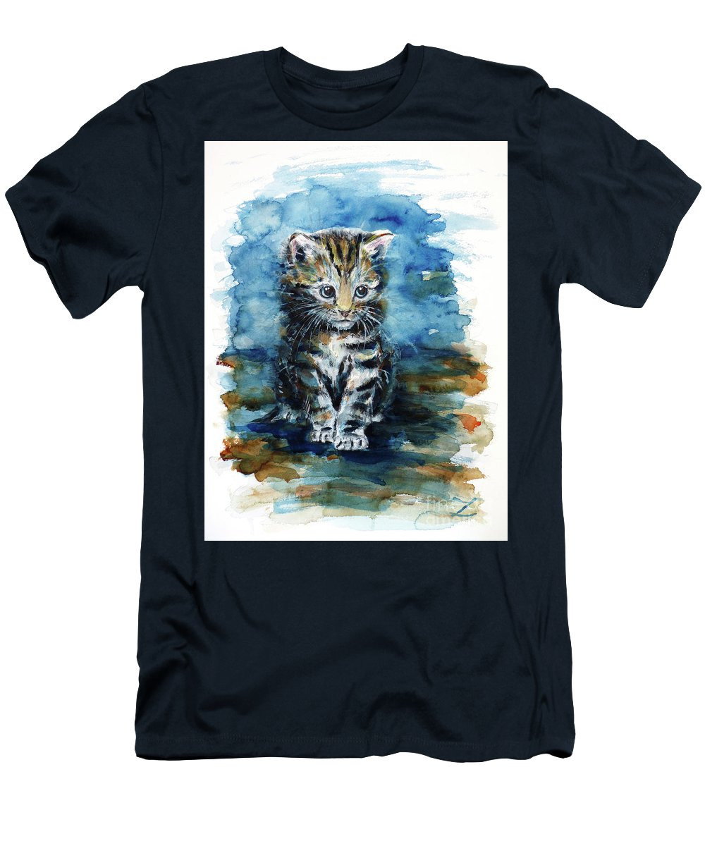 Timid Kitten Men's T-Shirt (Athletic Fit) featuring the painting Timid Kitten by Zaira Dzhaubaeva