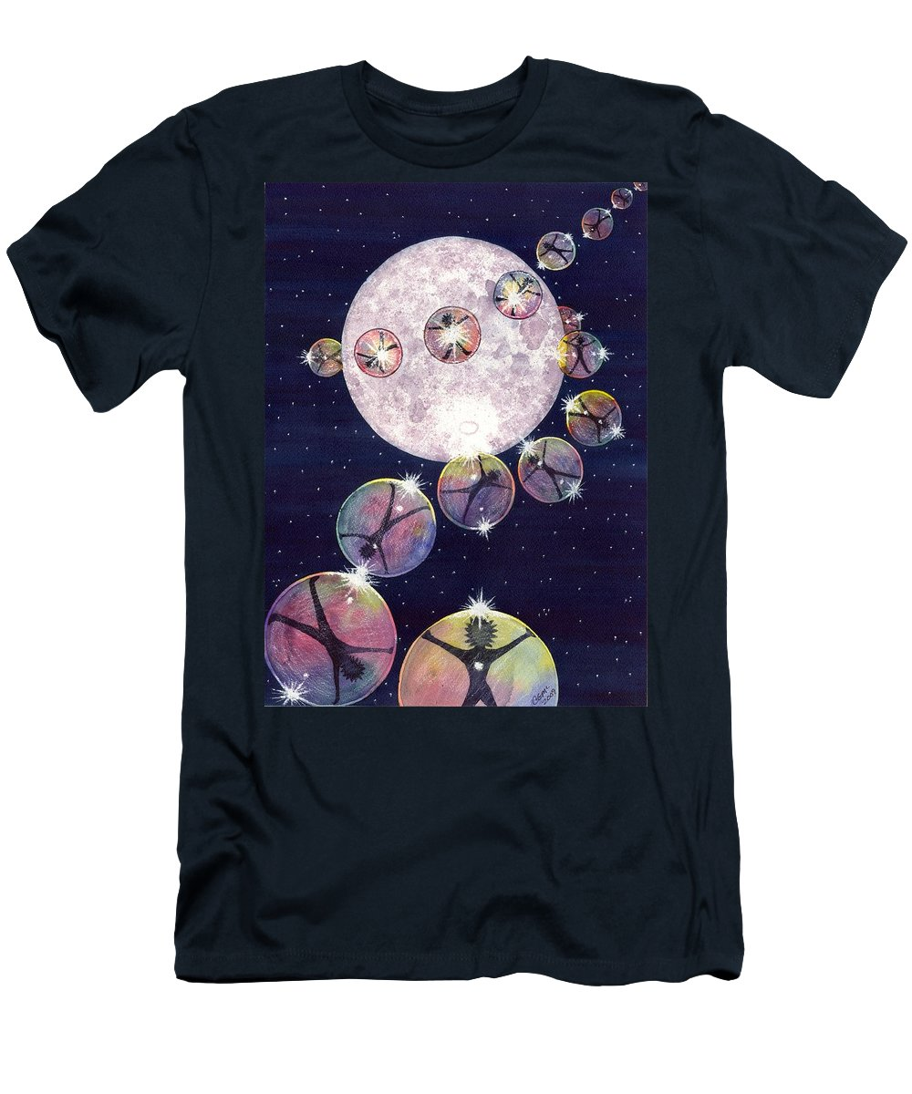 Moon Men's T-Shirt (Athletic Fit) featuring the painting To The Moon And Beyond by Catherine G McElroy