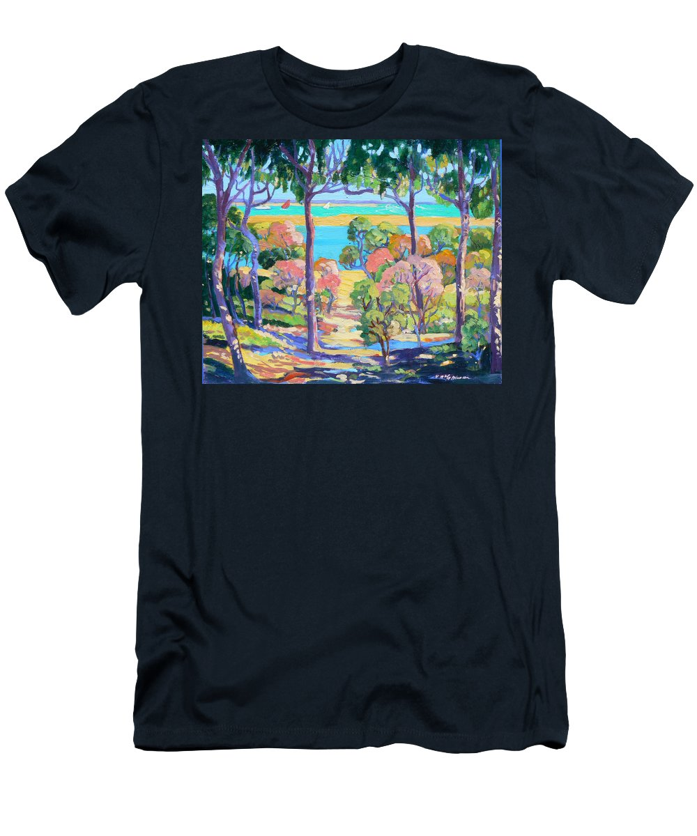 Landscape Men's T-Shirt (Athletic Fit) featuring the painting Town Of 1770 From The Captain Cook Lookout by Virginia Mcgowan