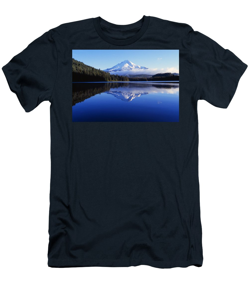 Color Image Men's T-Shirt (Athletic Fit) featuring the photograph Trillium Lake With Reflection Of Mount by Dan Sherwood