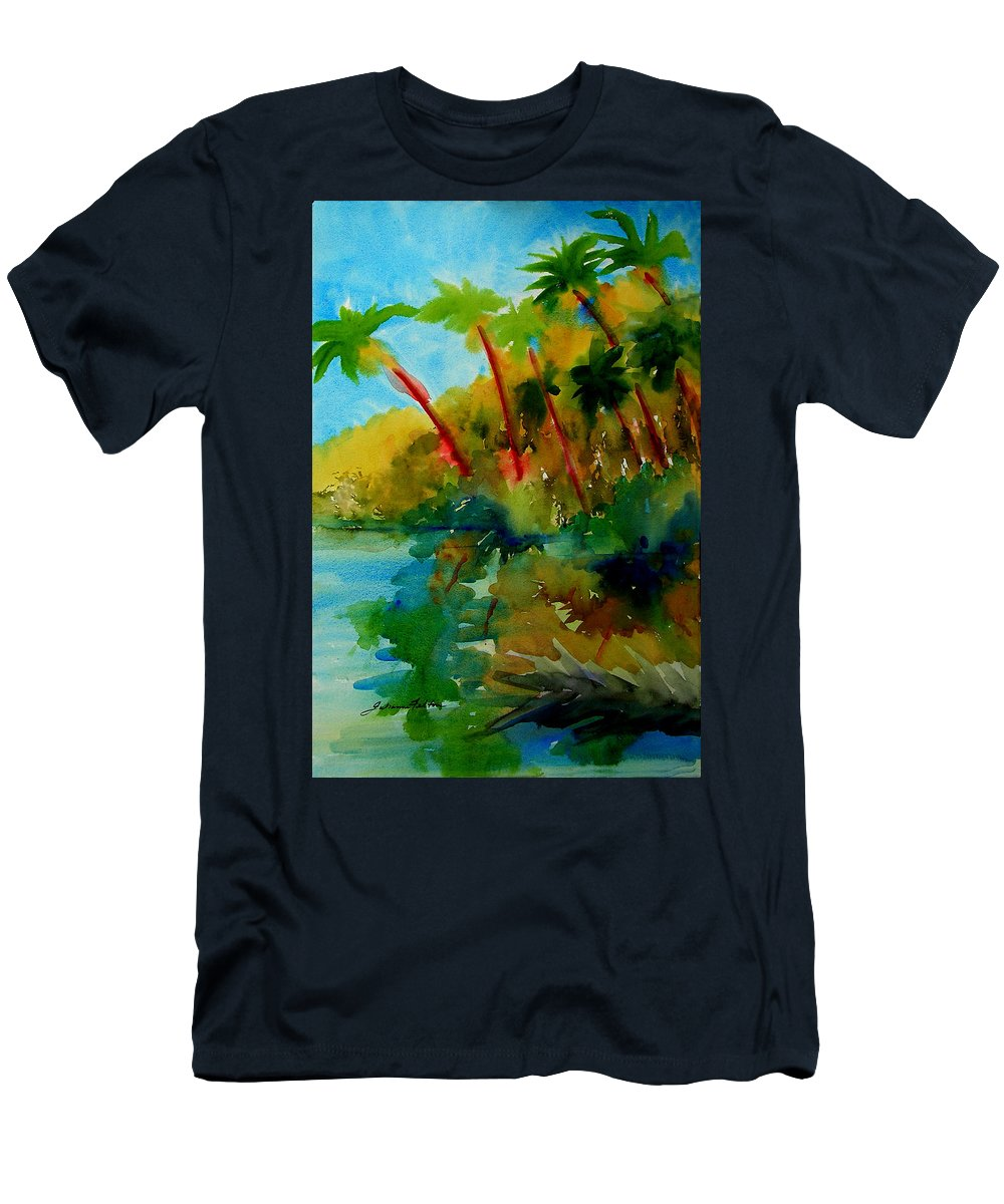 Art Men's T-Shirt (Athletic Fit) featuring the painting Tropical Canal by Julianne Felton