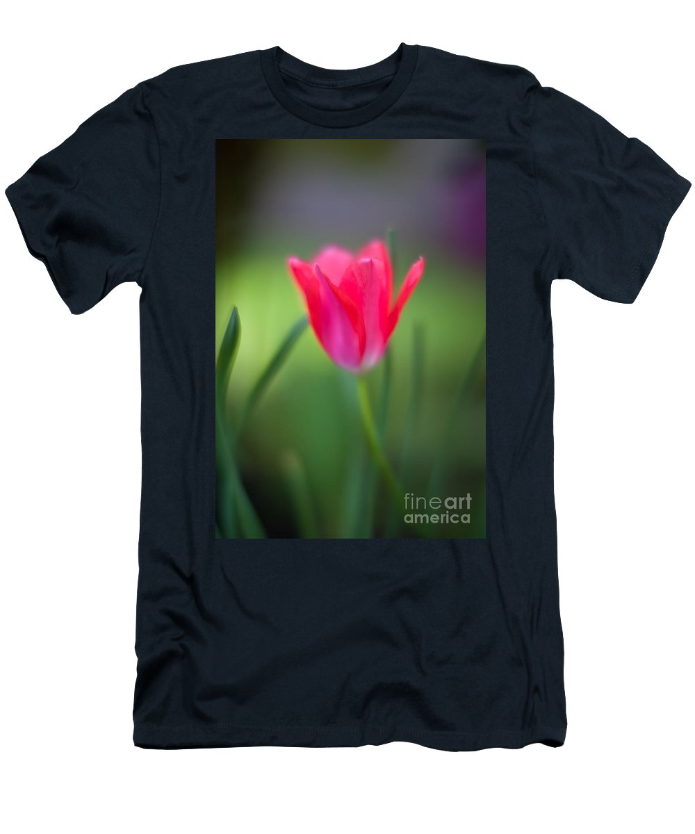Tulip Men's T-Shirt (Athletic Fit) featuring the photograph Tulip Amongst by Mike Reid