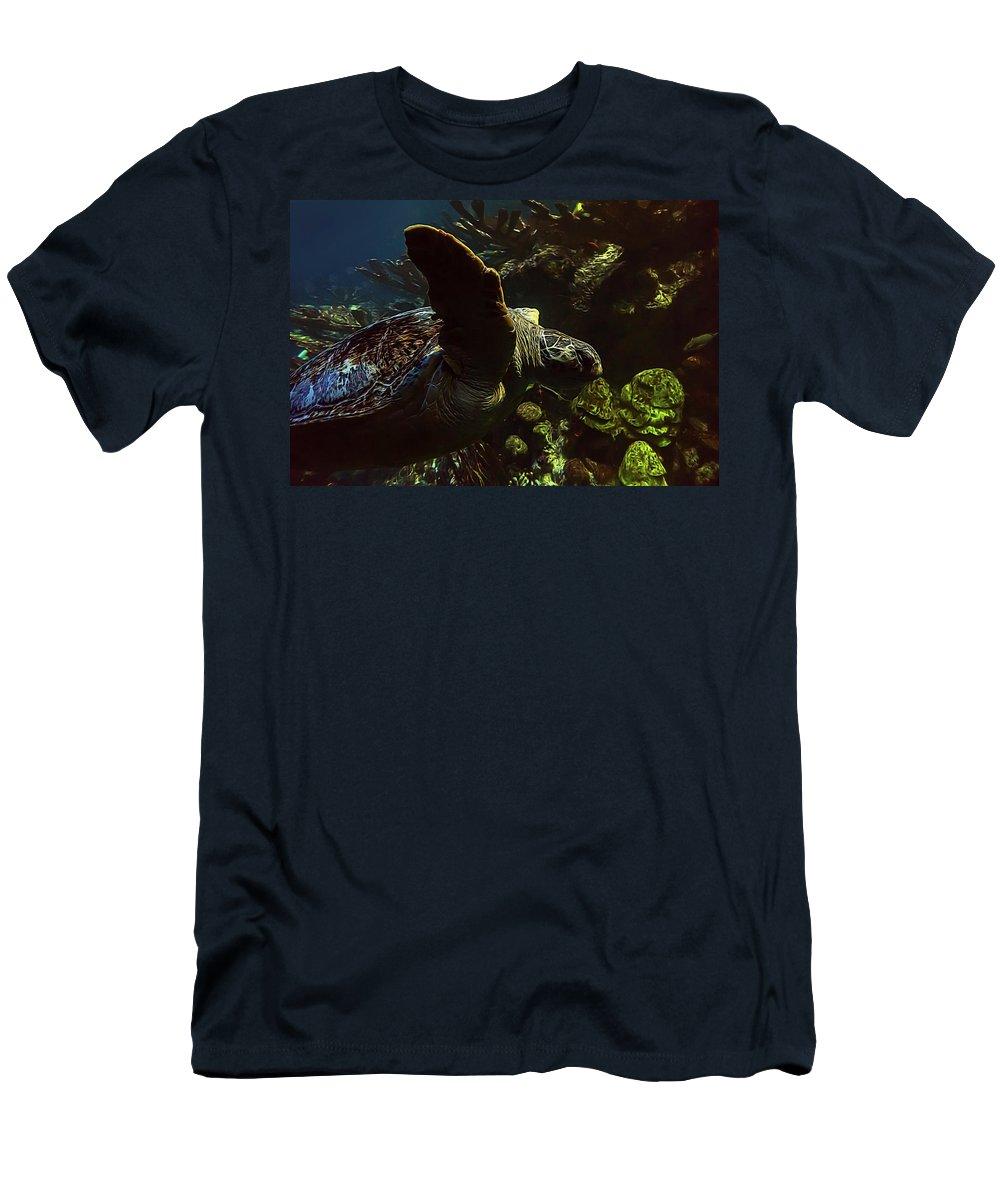 Aquarium Men's T-Shirt (Athletic Fit) featuring the photograph Turtle Wave by Janet Fikar