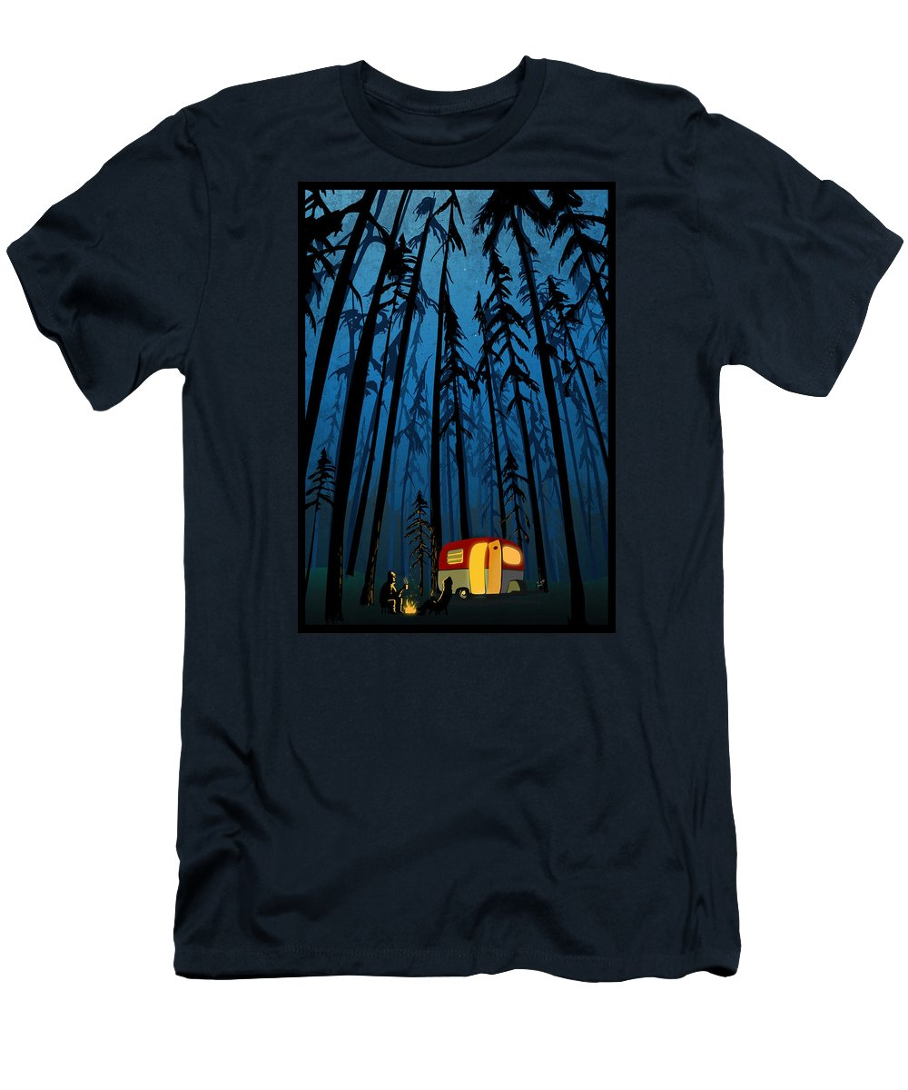 Camper In The Woods Men's T-Shirt (Athletic Fit) featuring the painting Twilight Camping by Sassan Filsoof