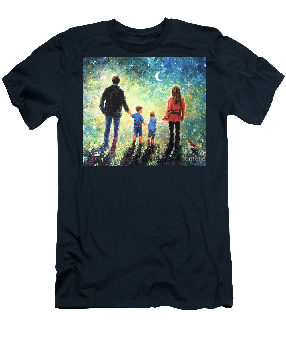 Family Two Sons Men's T-Shirt (Athletic Fit) featuring the painting Twilight Walk Family Two Sons by Vickie Wade