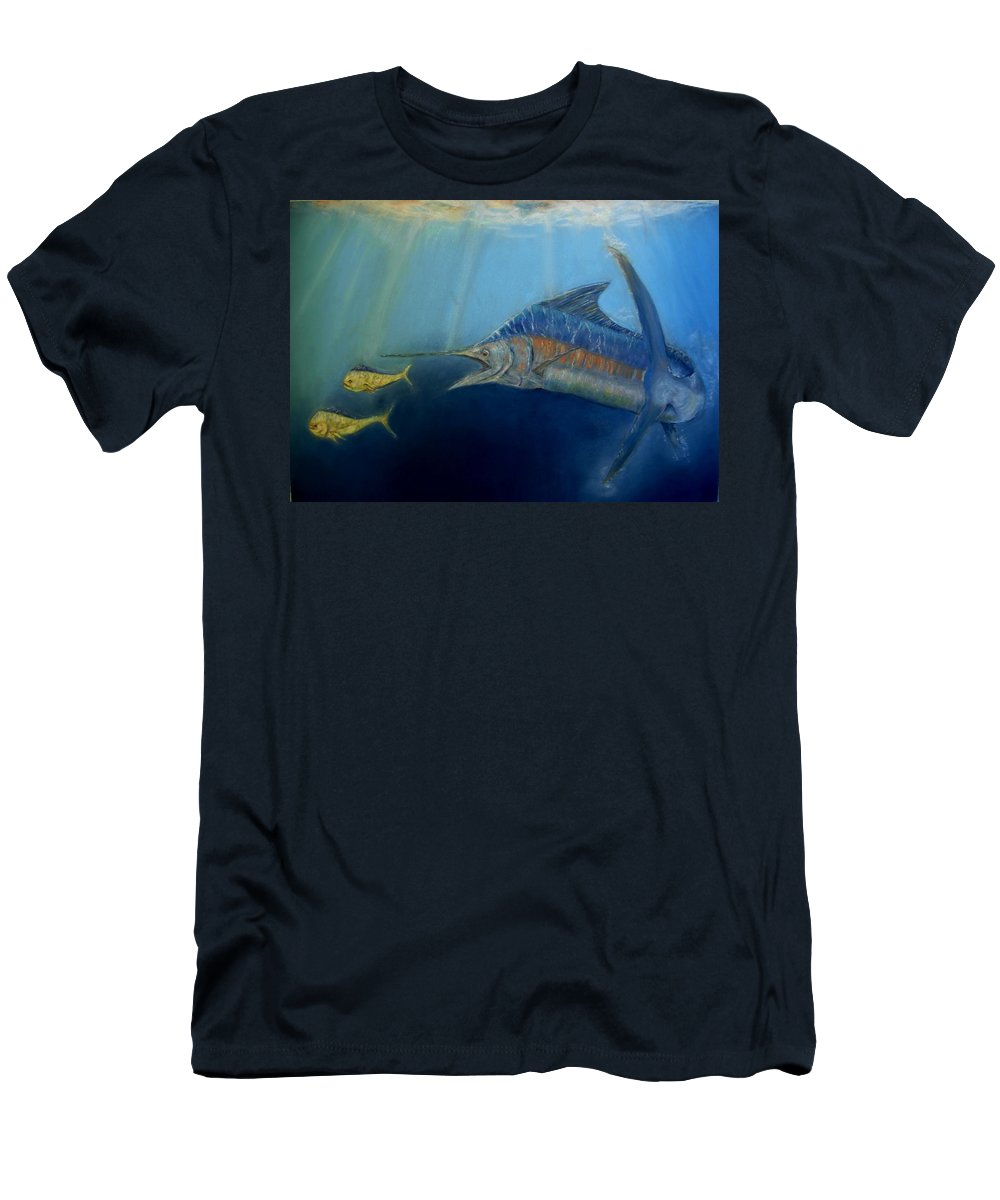 Marine Wildlife Men's T-Shirt (Athletic Fit) featuring the pastel Two For Lunch by Ceci Watson