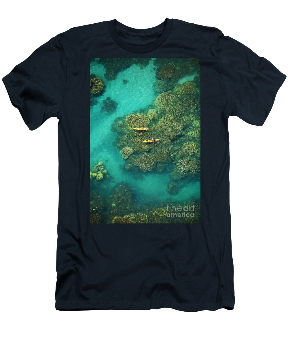 Above Men's T-Shirt (Athletic Fit) featuring the photograph Two Kayakers by Ron Dahlquist - Printscapes
