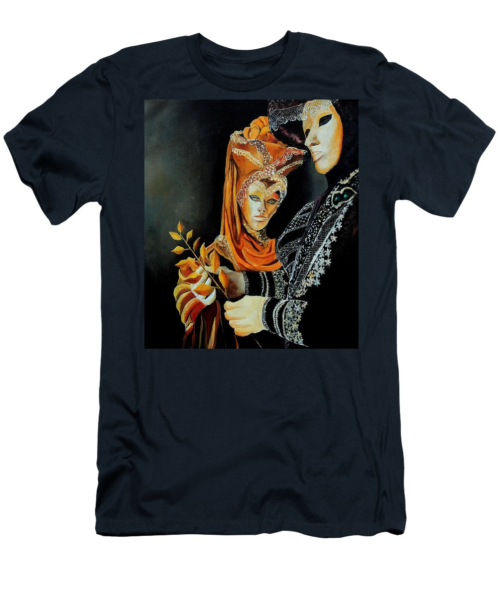 Mask Venice Carnavail Italy Men's T-Shirt (Athletic Fit) featuring the painting Two Masks In Venice by Pol Ledent