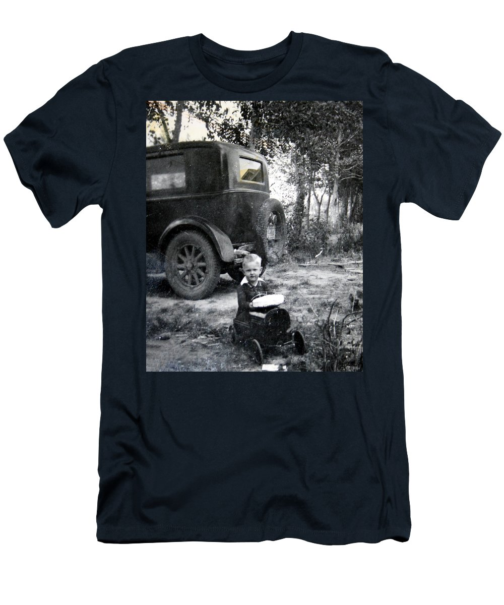 Classic Cars Antique Automobile Toy Toys Black And White Photograph Classic Men's T-Shirt (Athletic Fit) featuring the photograph Two Old Cars by Andrea Lawrence