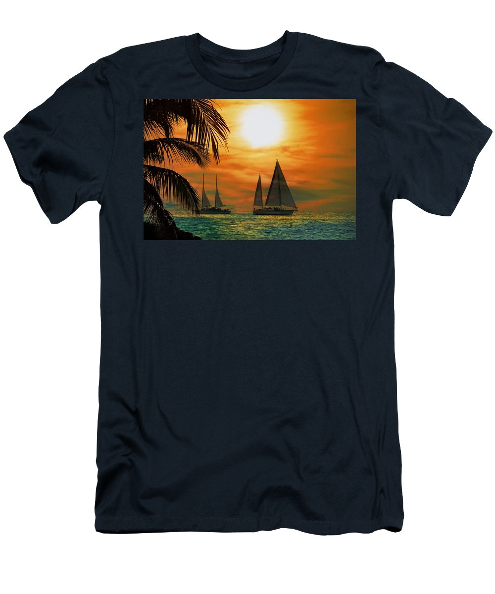 Sail Men's T-Shirt (Athletic Fit) featuring the photograph Two Ships Passing In The Night by Bill Cannon