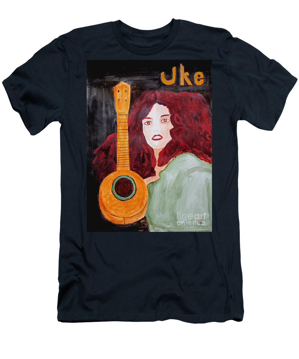 Watercolor Men's T-Shirt (Athletic Fit) featuring the painting Uke by Sandy McIntire