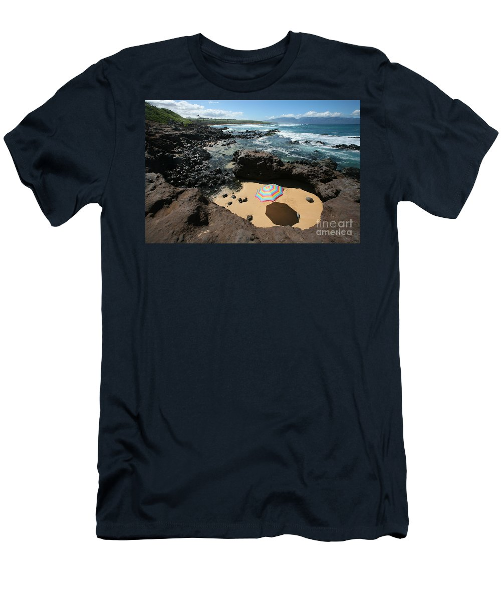 Afternoon Men's T-Shirt (Athletic Fit) featuring the photograph Umbrella On Beach by Ron Dahlquist - Printscapes