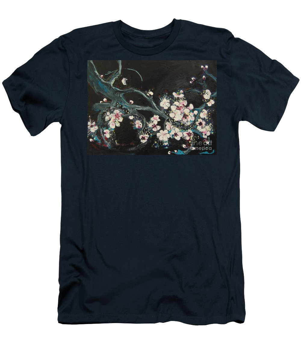Ume Blossoms Paintings Men's T-Shirt (Athletic Fit) featuring the painting Ume Blossoms2 by Seon-Jeong Kim