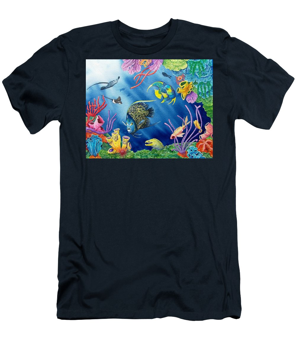 Undersea Men's T-Shirt (Athletic Fit) featuring the painting Undersea Garden by Gale Cochran-Smith