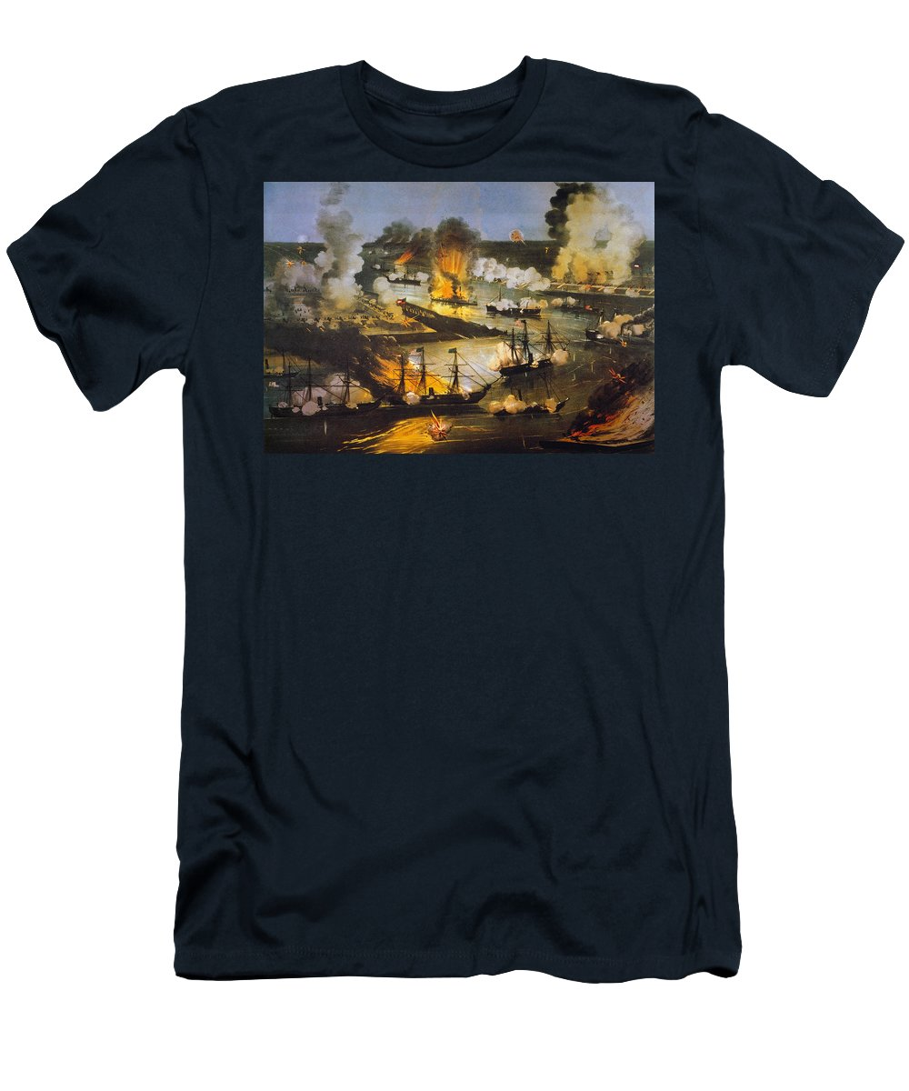 1862 Men's T-Shirt (Athletic Fit) featuring the photograph Union Bombardment, 1862 by Granger
