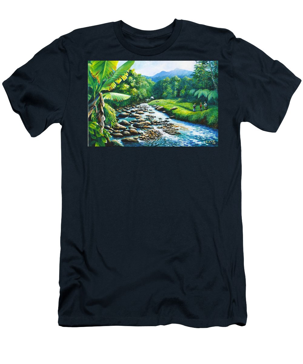 Chris Cox T-Shirt featuring the painting Upriver by Christopher Cox