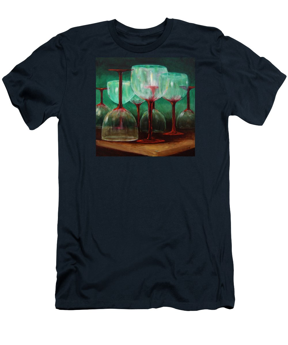 Oil Men's T-Shirt (Athletic Fit) featuring the painting Upsidedown by Linda Hiller