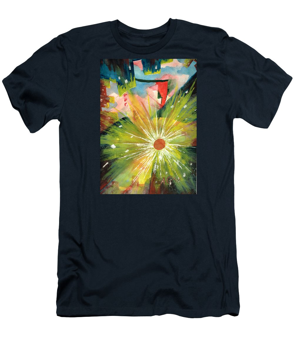 Downtown T-Shirt featuring the painting Urban Sunburst by Andrew Gillette