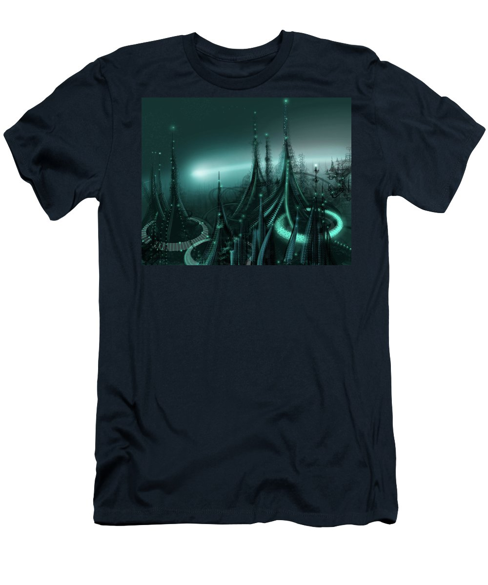 Cityscape Men's T-Shirt (Athletic Fit) featuring the digital art Utopia by James Christopher Hill