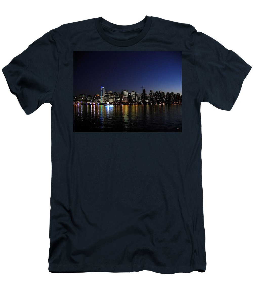 Night Scape Men's T-Shirt (Athletic Fit) featuring the photograph Vancouver Night Lights by Will Borden