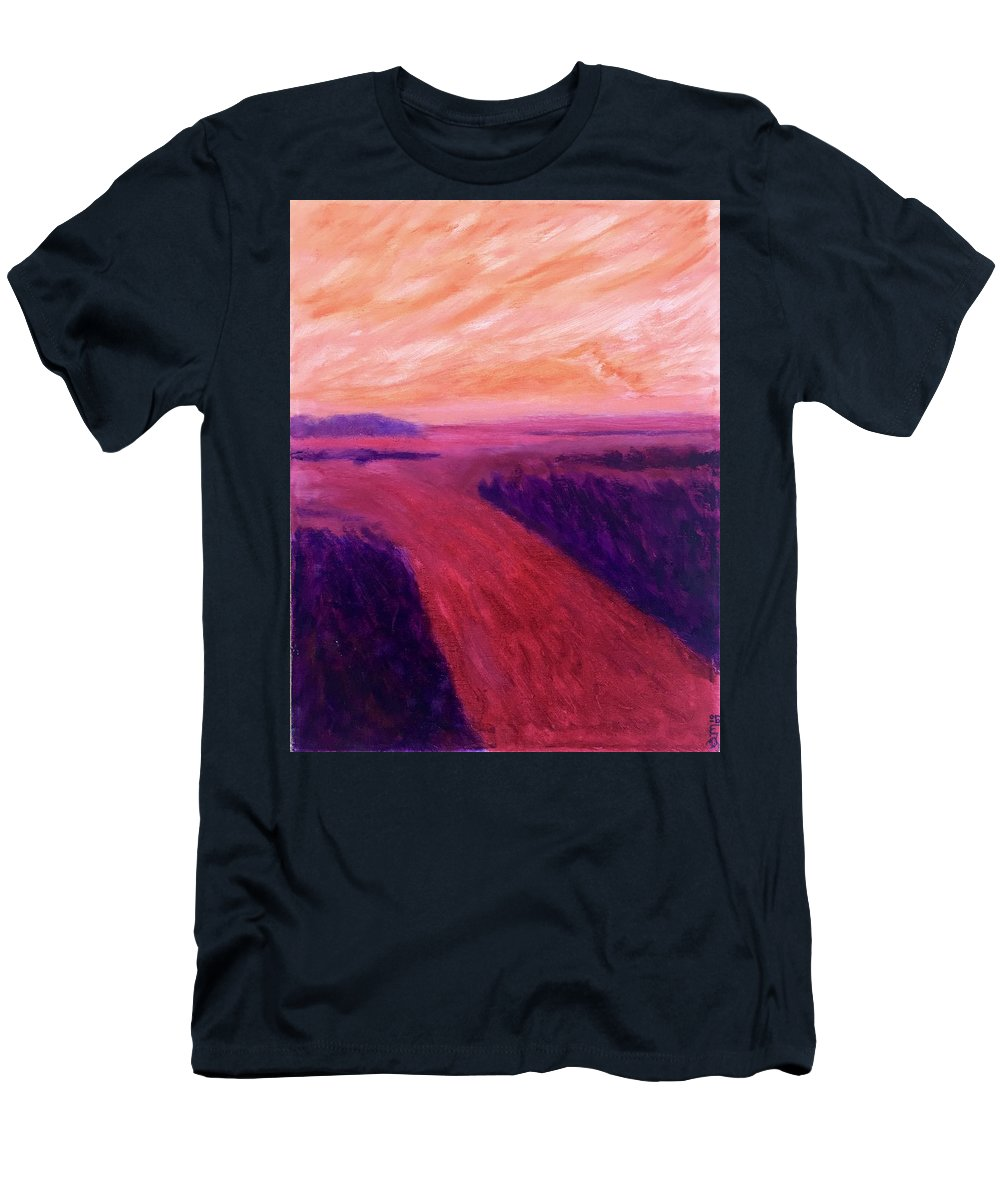 Rivers Water Orange Purple Magenta Wine Skies T-Shirt featuring the painting Vanishing by Suzanne Udell Levinger