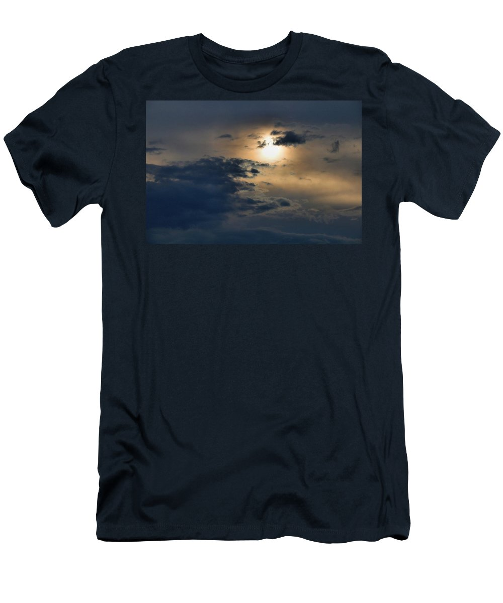 Sunset Men's T-Shirt (Athletic Fit) featuring the photograph Very Hazy Sunset by Kathryn Meyer