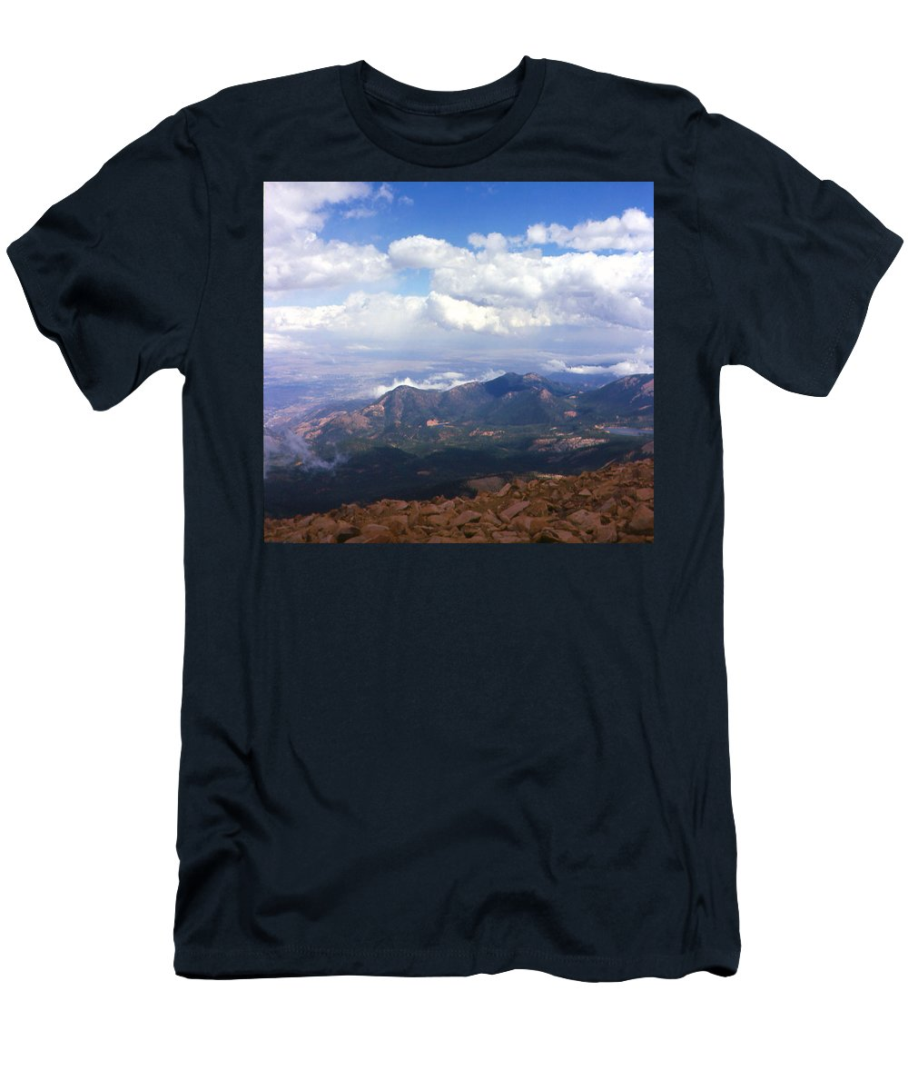 Pikes Peak Men's T-Shirt (Athletic Fit) featuring the photograph View From Pikes Peak 1964 by Karen Dickel