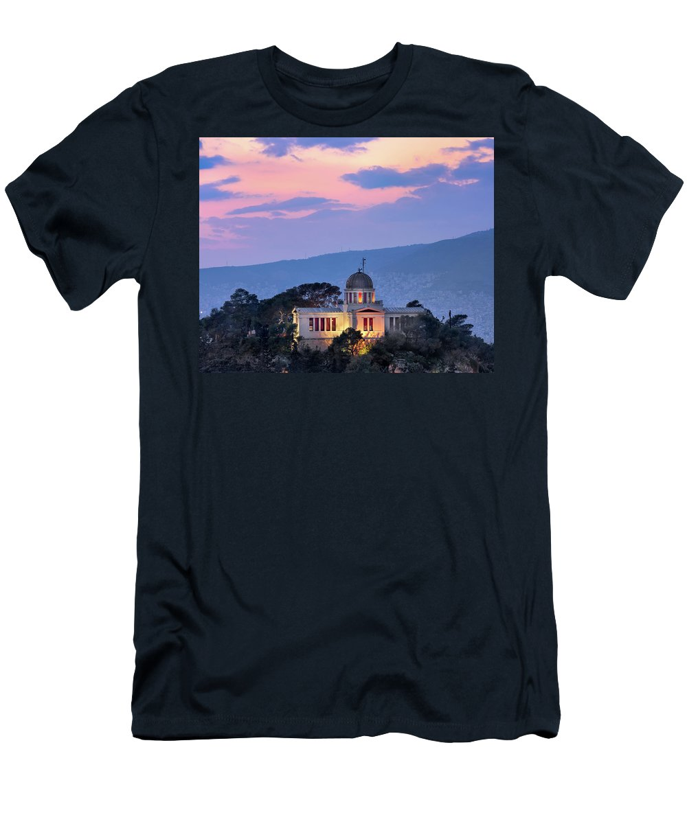 Architecture Men's T-Shirt (Athletic Fit) featuring the photograph View Of National Observatory Of Athens In The Evening, Athens, G by Andrey Omelyanchuk
