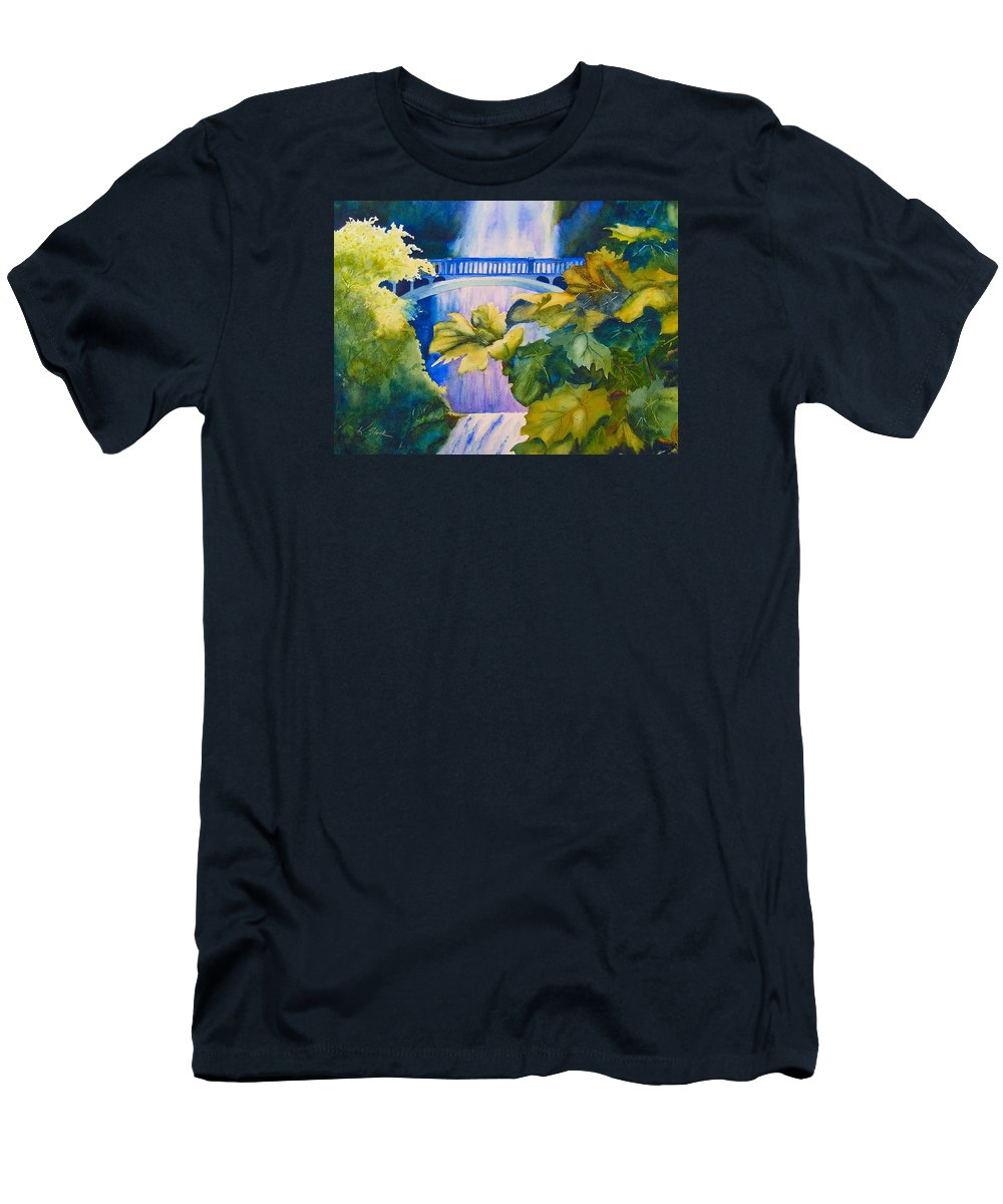 Waterfall T-Shirt featuring the painting View of the Bridge by Karen Stark