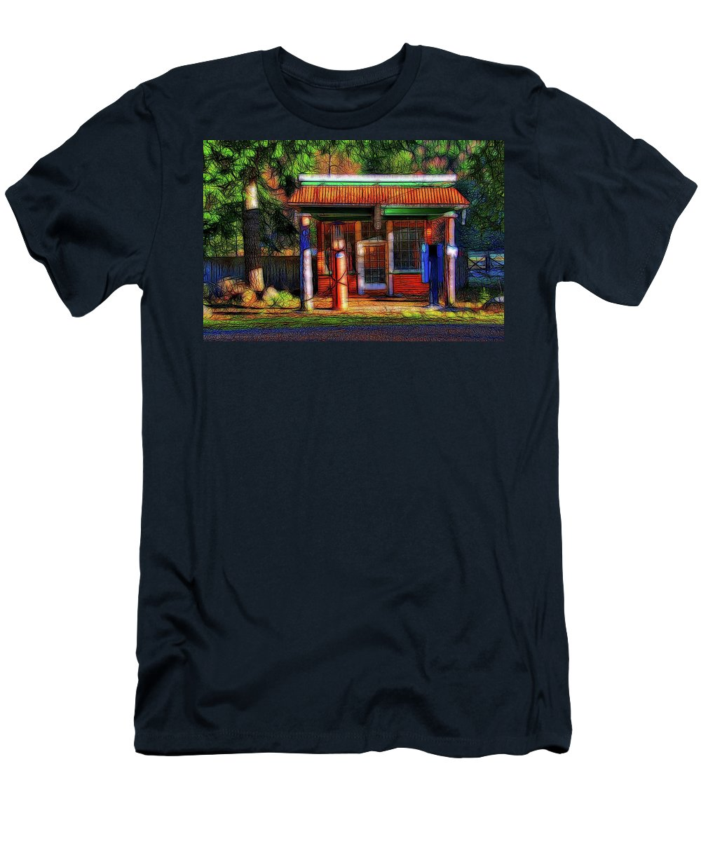 Abstract Art Men's T-Shirt (Athletic Fit) featuring the photograph Vintage Petrol Station by David Coleman