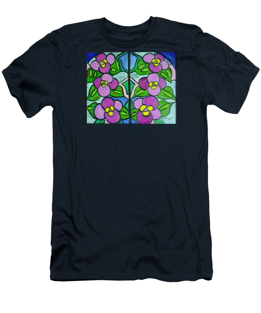 Violets Men's T-Shirt (Athletic Fit) featuring the painting Vintage Violets by Laurie Morgan