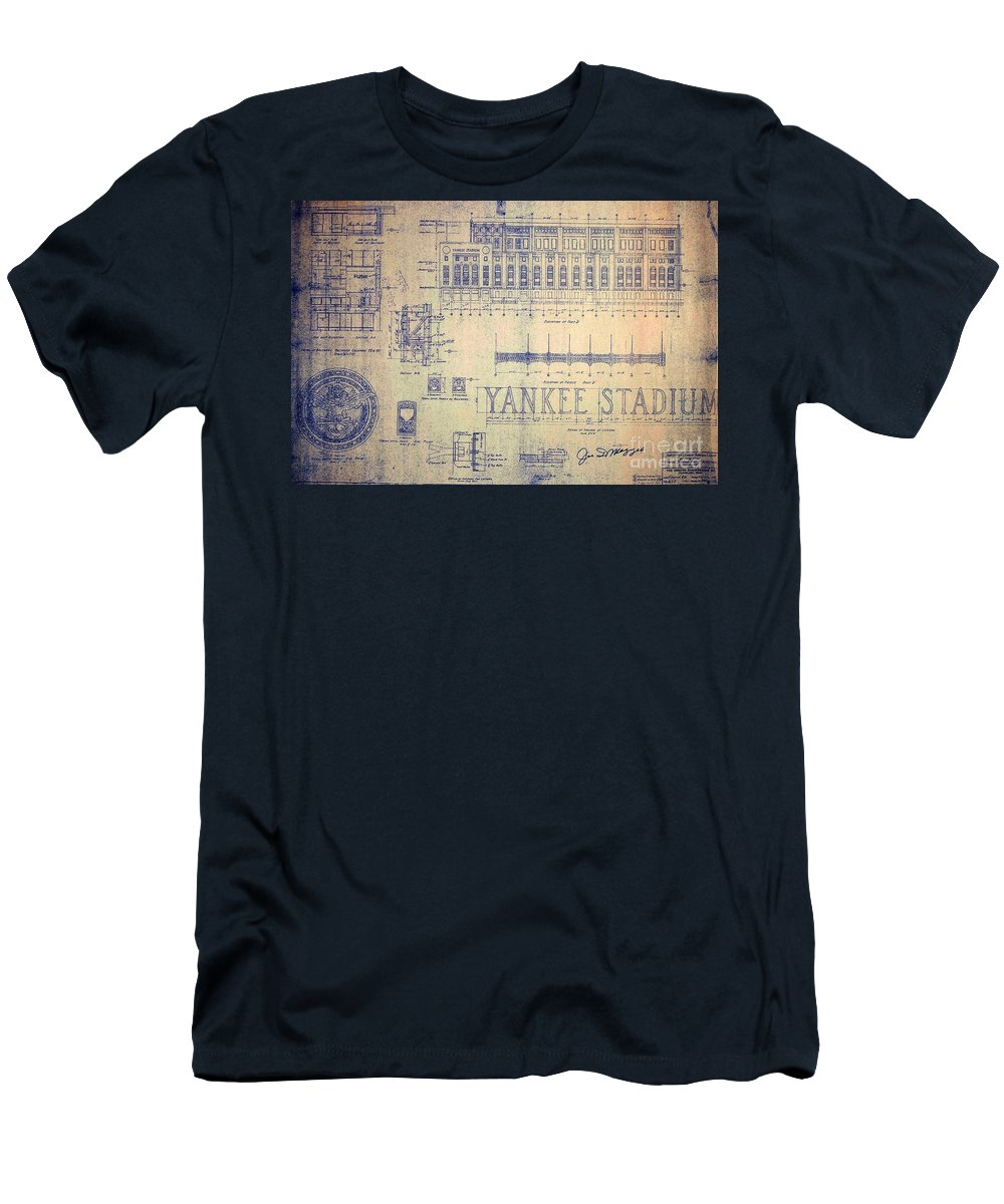 Joe Dimaggio T-Shirt featuring the drawing Vintage Yankee Stadium Blueprint by Peter Ogden Gallery