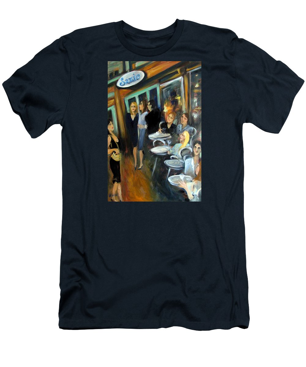 Sidewalk Cafe Men's T-Shirt (Athletic Fit) featuring the painting Waiting For A Table by Valerie Vescovi