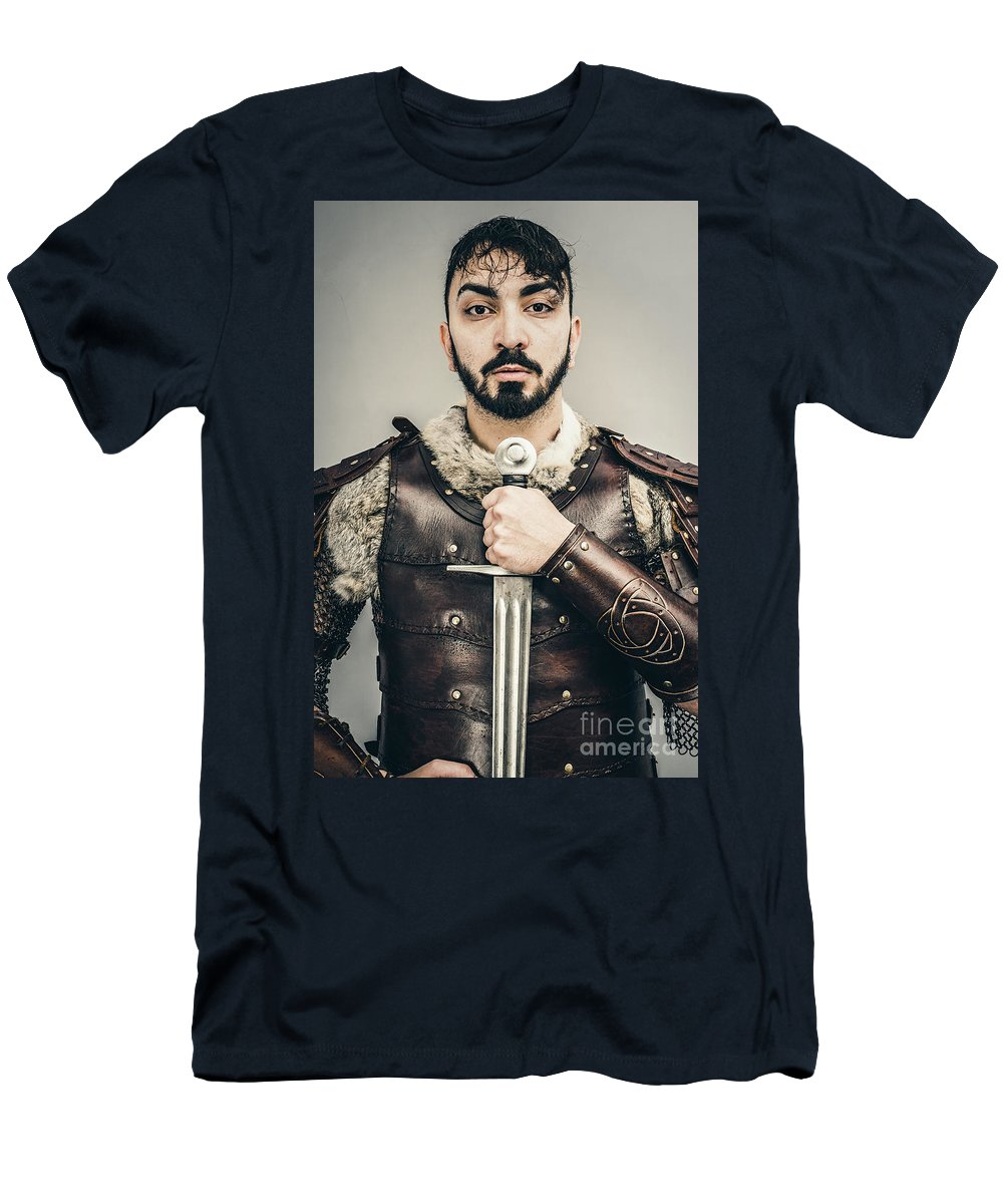 Got Men's T-Shirt (Athletic Fit) featuring the photograph Warrior With Sword by Amanda Elwell