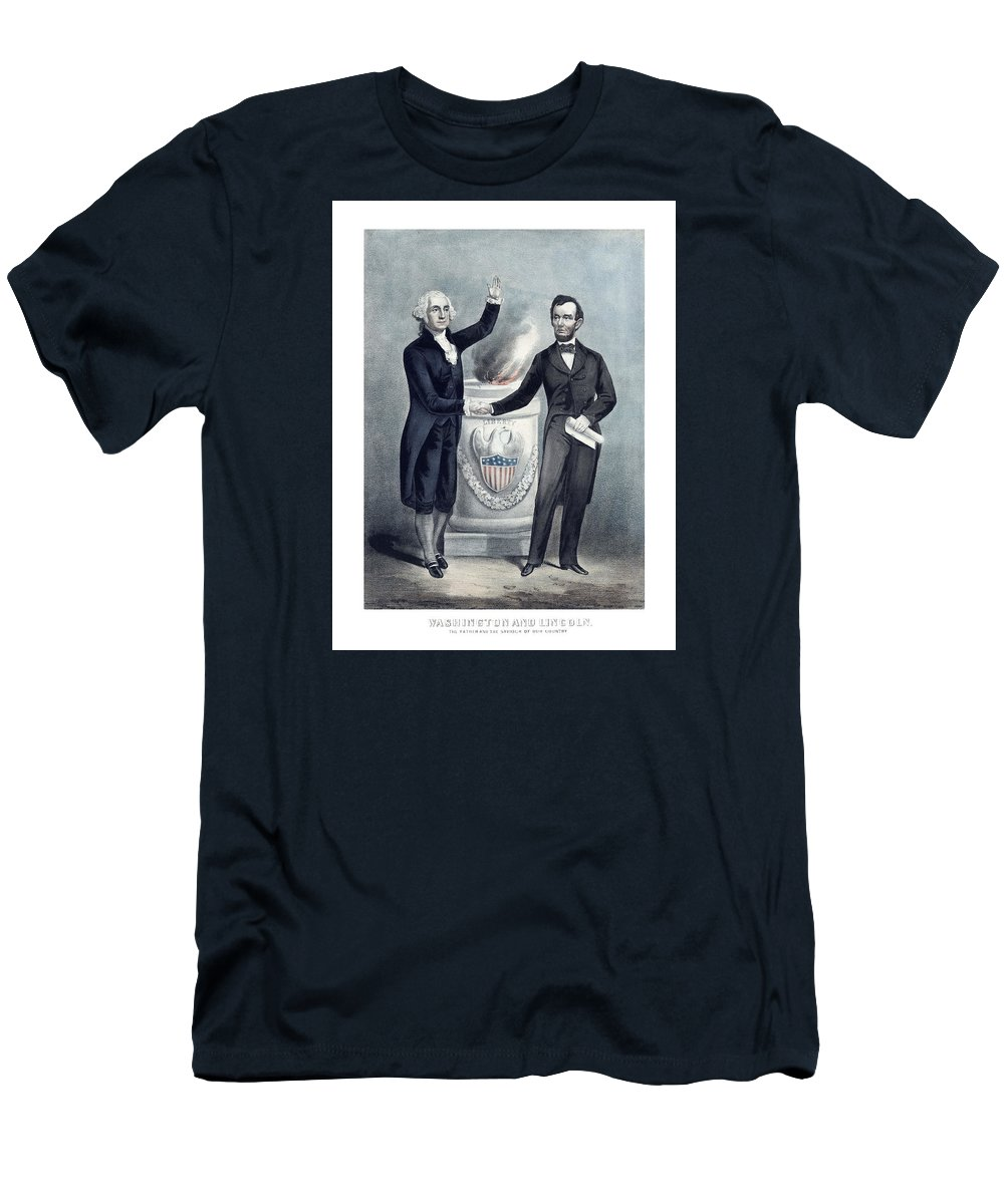 Abraham Lincoln Men's T-Shirt (Athletic Fit) featuring the painting Washington And Lincoln by War Is Hell Store