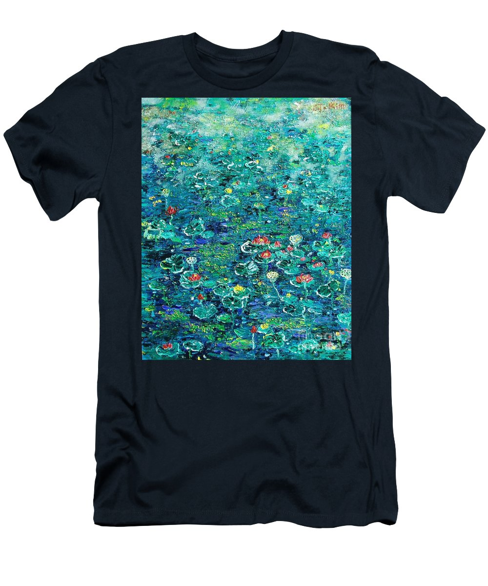 Water Lily Paintings Men's T-Shirt (Athletic Fit) featuring the painting Water Lilies Lily Pad Lotus Water Lily Paintings by Seon-Jeong Kim