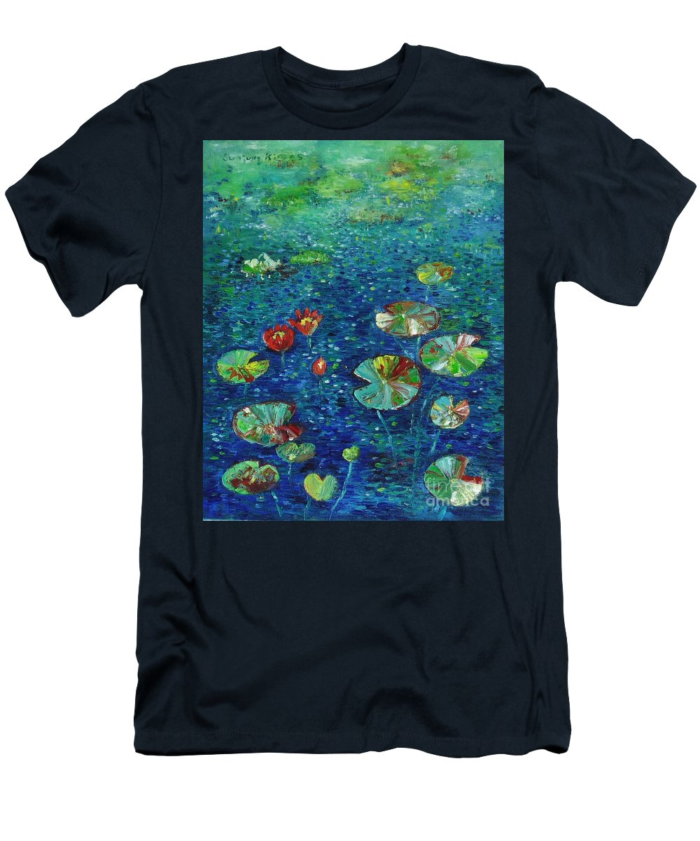 Lotus Paintings Men's T-Shirt (Athletic Fit) featuring the painting Water Lily Lotus Lily Pads Paintings by Seon-Jeong Kim