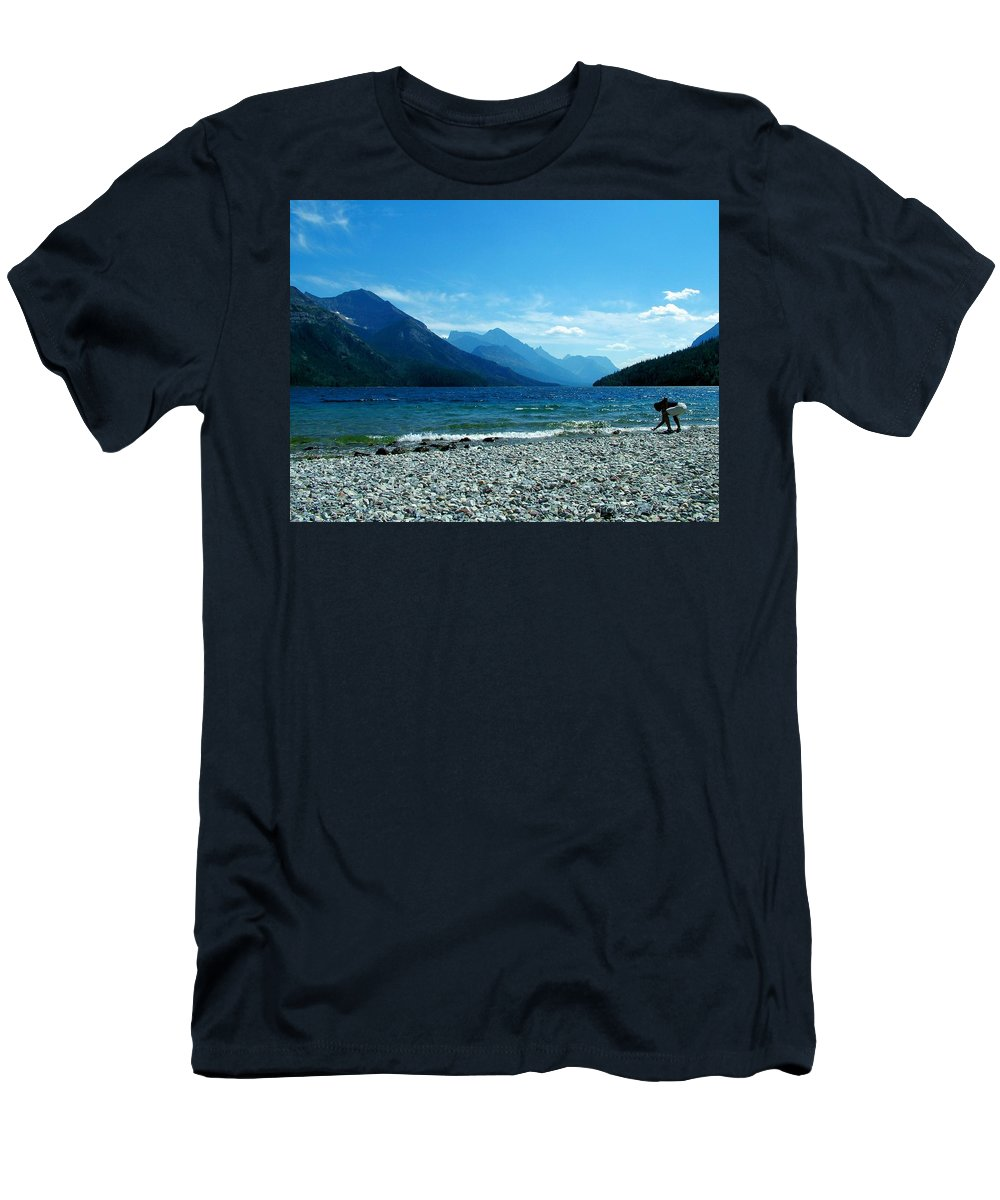 Waterton Lake Men's T-Shirt (Athletic Fit) featuring the photograph Waterton Beachcomber by Tracey Vivar