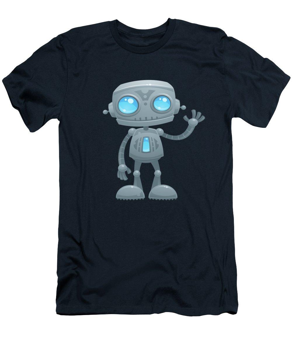 Robot T-Shirt featuring the digital art Waving Robot by John Schwegel