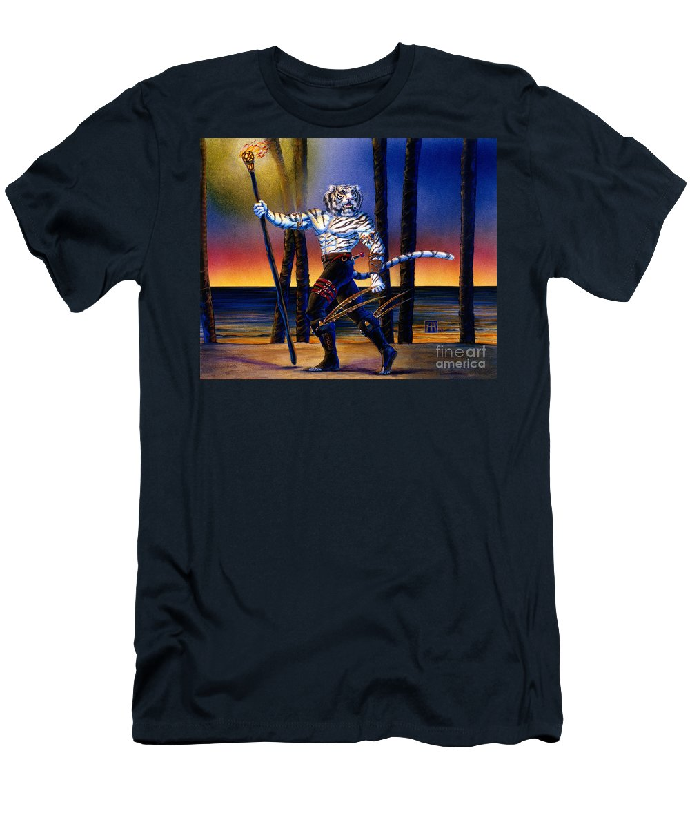 Were Cat Men's T-Shirt (Athletic Fit) featuring the painting Werecat With Torch by Melissa A Benson