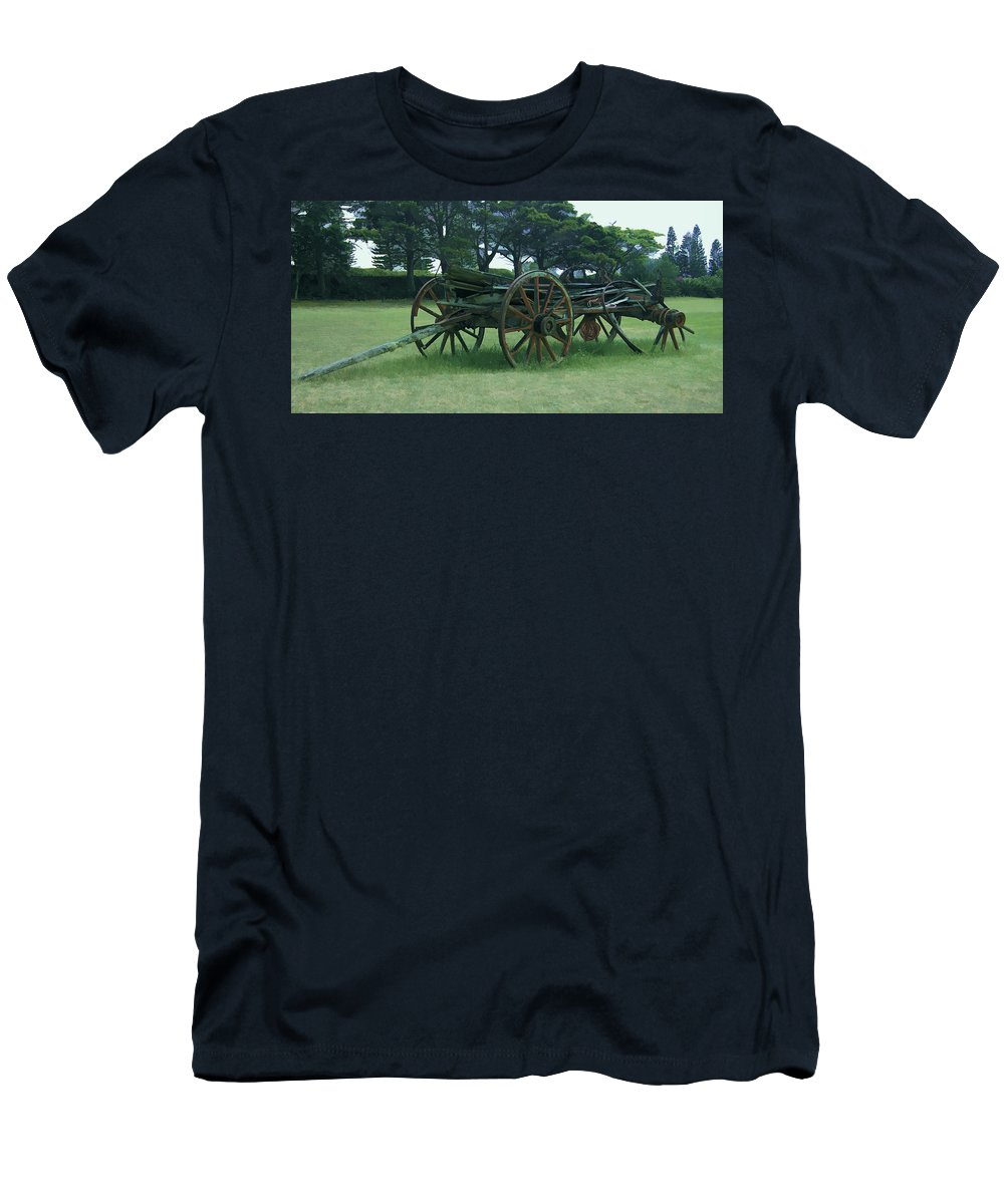 Western Men's T-Shirt (Athletic Fit) featuring the mixed media Western Wagon by Pamela Walton