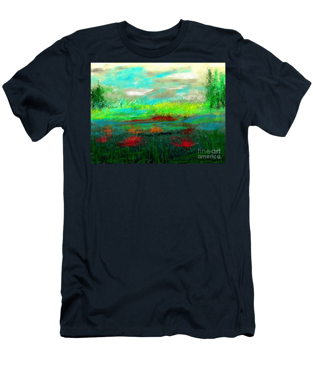 Nature Men's T-Shirt (Athletic Fit) featuring the digital art Wetlands by David Lane